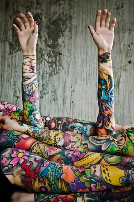 Vibrant, colorful tattoo sleeves