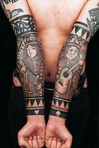 Queen and King playing cards tattoo sleeves